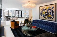 blue velvet tufted couch
