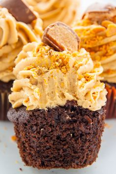 An easy and amazing recipe for Butterfinger Chocolate Cupcakes! Imagine moist chocolate butterfinger cupcakes topped with creamy peanut butter butterfinger frosting and you'll know what … Butterfinger Cupcakes, Chocolate Peanut Butter Cupcakes, Peanut Butter Frosting, Cream Frosting, Mini Cakes, Cupcake Cakes, Cupcake Ideas, Cup Cakes, Mini Cupcake Recipes