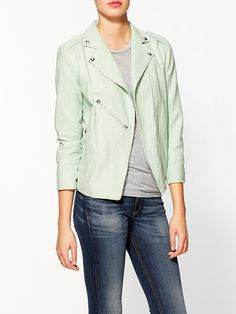 Piperlime | Pastel Moto Jacket, lint and dot - $119