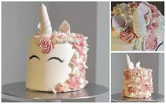 Learn how to make this trendy and cute buttercream Unicorn Cake! per­fect for your lit­tle one's next birth­day!