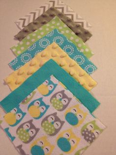 Baby rag or patchwork quilt top 56-5 inch charm pack of gray and yellow minky, blue, yellow, green, gray owls