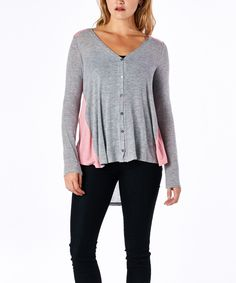 Look at this #zulilyfind! tresics Heather Gray Hi-Low V-Neck Button-Up Top by tresics #zulilyfinds