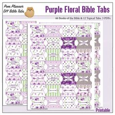 Purple Floral Bible Tabs for Bible by DigiScrapDelights on Etsy #purple #bible #bibletabs #biblestudy #tabs #printable #diy #pomplanner