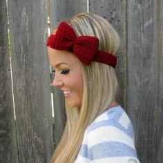 Crimson Red Crochet Bow Headband w/ Natural Vegan Coconut Shell Buttons Adjustable Hair Band Girl Woman Teen Head Wrap Cute Knit Accessories Crochet Bows, Knit Crochet, Knitting Accessories, Hair Accessories, Do It Yourself Inspiration, Ear Warmers, Head Wraps, Hair Bows, Bow Headbands