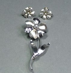 Vintage Sterling Silver Flower Pin  & Earring Set Binder Bros. NY circa 1920s/40s