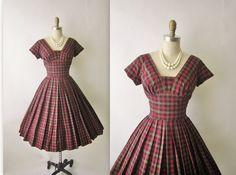 50's Autumn Dress // Vintage 1960's Plaid Autumn Cocktail Party Dress S