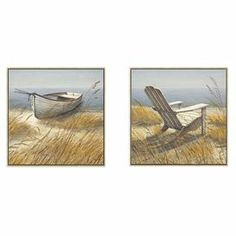 """Framed canvas with a shoreline motif.     Product: Set of 2 framed canvas printsConstruction Material: CanvasColor: Silver frameDimensions: 20"""" H x 20"""" W x 1.18"""" D"""