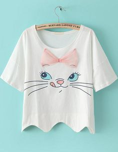 White Short Sleeve Bow Cat Print Crop T-shirt
