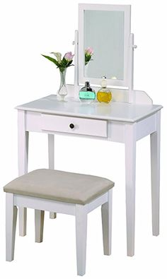 Amazon.com: SONGMICS Vanity Makeup Table Set With Mirror 2 Sliding Drawers Dressing  Table Removable Stool Cover White URDT11W: Home U0026 Kitchen | Pinterest ...