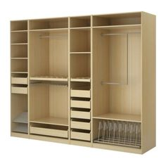 Walk-in-wardrobe: fittings from Ikea, including trouser rail, shoe rack, and in-built jewellery & accessory drawers
