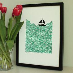Bigger boat screen print  ultramarine green by mengseldesign, $65.00