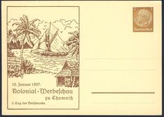 Germany, German Empire, 10.01.1937, Kolonial-Werbeschau zu Chemnitz, 3 Pfg.-GA-Privatpostkarte, ungebr., I (Mi.-Nr.PP122/C39). Price Estimate (8/2016): 15 EUR. Unsold.