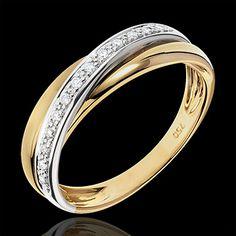 cadeau femme Anneau Saturne Diamant - or jaune et or blanc - 18 carats