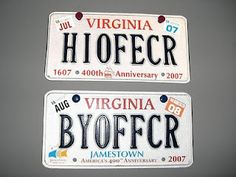 A funny license plate for the front and the back of your car.
