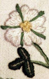 Embroidery strawberry flower - close up | by www.miriam-blaylock.com