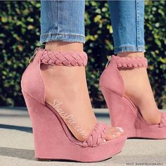 High Heels Boots, Shoes Heels Wedges, Wedge Heels, Shoe Boots, Pink Wedges, Pink High Heels, Pink Sandals, Shoes Sandals, Prom Shoes