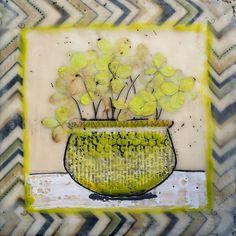 Encaustic - Hydrangea Pot - by Linda Virio