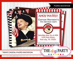 Pirate photo invitation card first birthday invite by TheDigiParty