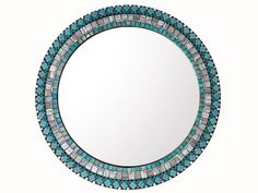 "Mosaic Wall Mirror Aqua and Gray - 18"" Round Mirror Mosaic, Round Wall Mirror, Glass Mosaic Tiles, Mosaic Wall, Round Mirrors, Picture Wire, Green Street, Repeating Patterns, Turquoise Bracelet"