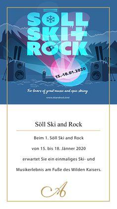 """Beim 1. Söll 🎿Ski and Rock 🎷von 15. bis 18. Jänner 2020 erwartet Sie ein einmaliges 🏂Ski- und Musikerlebnis am Wilden Kaisers. Tagsüber können Sie auf den perfekt präparierten Pisten 🎿der SkiWelt Söll Ihre Schwünge 🎿bei Pistensafaris oder """"Back-to-Ski""""-Kursen 🏂ziehen und die Live-Musik🎼 auf den Skihütten genießen. Abends bietet das Dorfzentrum Söll eine einzigartige Kulisse für die musikalischen Höhepunkte: die 🎷Live-Konzerte der irischen Rock-Bands """"The Academic"""" und """"The… Wilder Kaiser, Rock Bands, Skiing, Events, Live, Movies, Movie Posters, Brass Band Music, Wine Festival"""