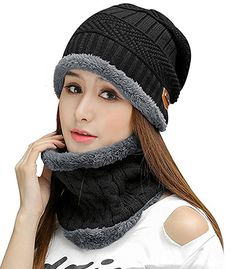 564295f0543 HINDAWI Womens Beanie Winter Hat Scarf Set Slouchy Warm Snow Knit Skull Cap  Black ...