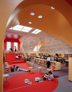 From Public School 16 in Brooklyn. the library could become our underground tornado shelter! Make it with no windows and solid walls. Teen Library, Modern Library, Elementary Library, Elementary Schools, Children's Library, School Library Design, Classroom Design, School Libraries, Library Architecture