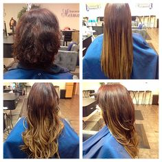 Get length AND the ombre without lightening your hair at Mermaid Hair Extensions. #Ombre #LongHair #Extensions #BeforeAndAfter  #Kirkland
