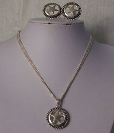 Western Multistrand Texas Lonestar Star Rodeo Necklace Set Clip on Earrings