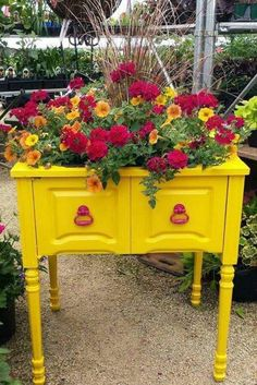 Old sewing cabinet as a planter. Love!