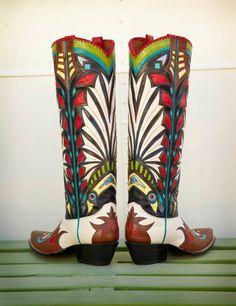 R.B. Pretty much WOW! Custom Cowboy Boots, Custom Boots, Cowgirl Boots, Western Boots, Western Wear, Cowgirl Chic, Cowgirl Style, Boot City, Westerns
