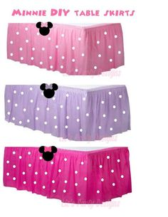 Minnie Mouse polk dot table skirts DIY kit by LizsPartyDesigns Minnie Mouse Theme Party, Minnie Mouse 1st Birthday, Minnie Mouse Baby Shower, Minnie Mouse Favors, 3rd Birthday Parties, 2nd Birthday, Birthday Ideas, Pink Parties, Mouse Parties