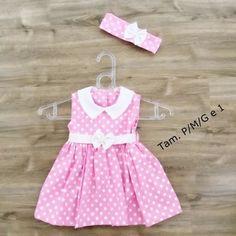 Vestido Infantil Petit Poa Rosa + Laço de cabelo Pronta Entrega