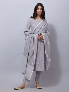Grey Polka Printed Cotton Suit - Set of 3 Simple Kurti Designs, Kurti Neck Designs, Kurti Designs Party Wear, Neck Designs For Suits, Cotton Dress Indian, Dress Indian Style, Indian Outfits, Cotton Dresses, Salwar Suits Simple
