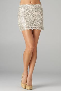 Sequined Lace Mini Skirt