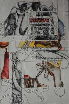 Secondary High School Art drawing a collection example shoes - Art Education ideas Drawing Lessons, Drawing Projects, Drawing Tips, Drawing Ideas, Drawing Techniques, Drawing Classes, Ap Studio Art, Arte Gcse, Art Doodle