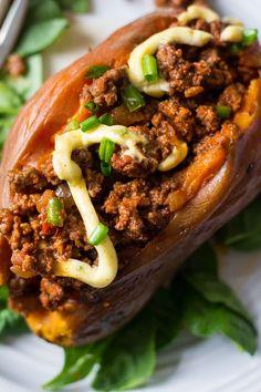 Easy Paleo Chili Stuffed Sweet Potatoes {Whole30} | The Paleo Running Momma
