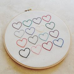 DIY: heart embroidery wall hanging