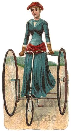 Vintage Victorian Woman on Tricycle Velocipede Lithograph French Die Cut Scrap