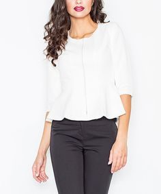 Take a look at this FIGL Ecru Zip-Up Peplum Jacket today!