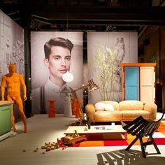 Milan 2o13:Dutch brand Moooi presented their Unexpected Welcome collection among giant portraits and undressed manequins in Milan's Tortona district last wee