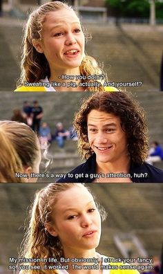Another scene from 10 Things I Hate About You. This film was written by Karen McCullah and Kirsten Smith.