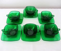 Emerald Green Glass 'Charm' Teacups and Saucers by MagyarBeader, $35.00