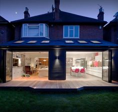 Mono-pitch roof with Velux style rooflights House Extension Plans, House Extension Design, Extension Designs, Roof Extension, Extension Ideas, Open Plan Kitchen Dining Living, Open Plan Living, Garden Room Extensions, House Extensions
