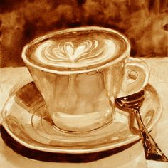 Coffee Art® by Angel & Andy  Art made with coffee!  So cool!