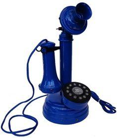 Telefone Antigo Castiçal Azul
