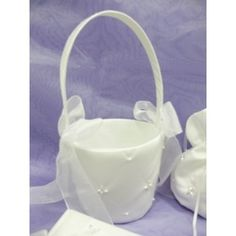 Flower Girl Basket - Pearl & Rhinestone 899 - White | Wedding Superstore | Express postage available