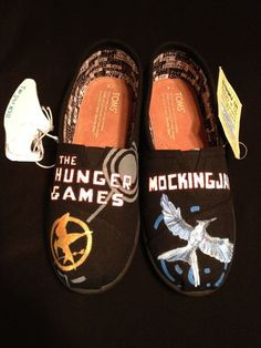 Custom Designed Hand Painted Shoes by TheSoleArtist on Etsy, $60.00.  HUNGER GAMES TOMS??? YES PLEASE