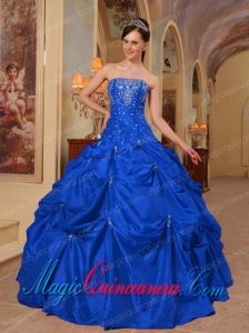 Blue Ball Gown Strapless Floor-length Taffeta Beading and Embroidery Discount Quinceanera Dresses