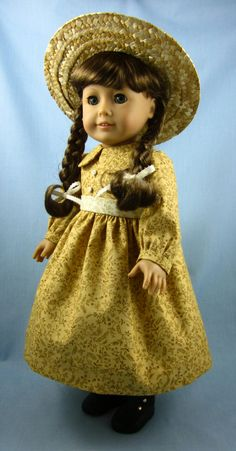 American Girl 1800s Five-Piece Ensemble - Dress, Apron, Bonnet, Straw Hat, Bloomers in Shades of Gold. $54.00, via Etsy.