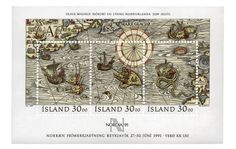ISLANDIA, 1989 Hoja recuerdo. Carta marina descriptiva de las rutas del norte y las maravillas que se encuentran en los países boreales. En 1539, el cartógrafo sueco Olaus Magnus (1490-1559) publicó su Carta Marina en la que incluyó el primer mapa de Escandinavia y regiones vecinas. Olaus Magnus le dio rostro al monstruo marino, que sería copiado en los siguientes dos siglos en incontables cartas.